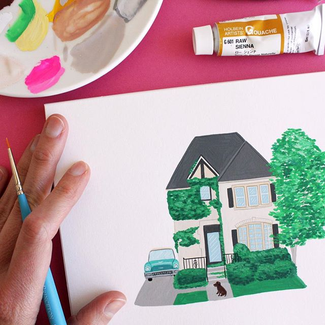 Another commission of a beautiful 🌿🌱🍃 covered home 🏡Email me (lucy@lucymail.us) if you're interested in commissioning a gouache on paper painting of your favorite place 🏠 or food 🌮🍲🍦❤️