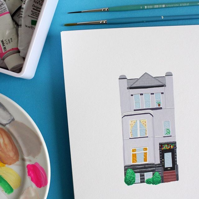 This week's commission: Emma's apartment building in DC ❤️🏡 email me (lucy@lucymail.us) if you're interested in a painting of your favorite place or food :)