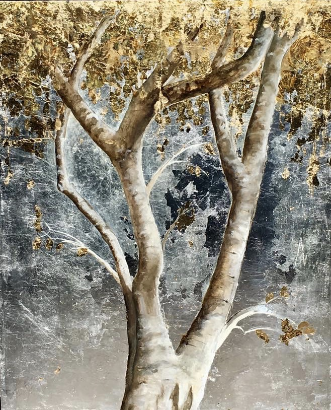 Golden Tree with Silver and Gold, Metal leaf and Oils
