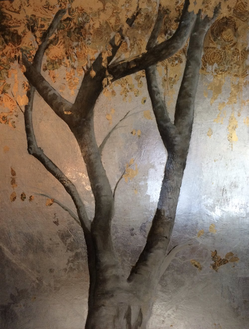 Golden Tree with Silver and Gold. Metal leaf and Oil