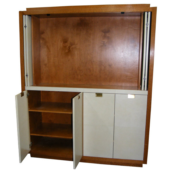 137 U2013 Custom Lacewood And Goat Skin Cabinet ...