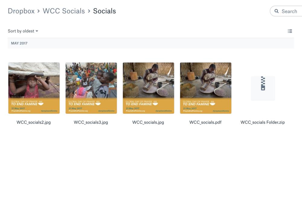 Recursos gráficos  de las redes sociales para compartir el Día internacional de oración para acabar con el hambre.
