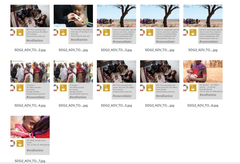 Social Media-Grafiken zum Teilen während des G7-Gipfels, bereitgestellt von SDG2 Advocacy Hub.