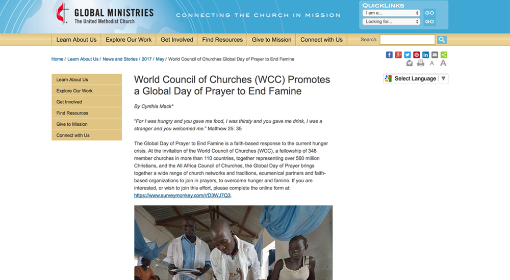 Ressources  fournies par l'organisation United Methodist Church, Global Ministries.