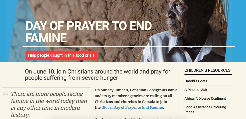 Resources  and information to guide your day of prayer provided by Canadian Foodgrains Bank.