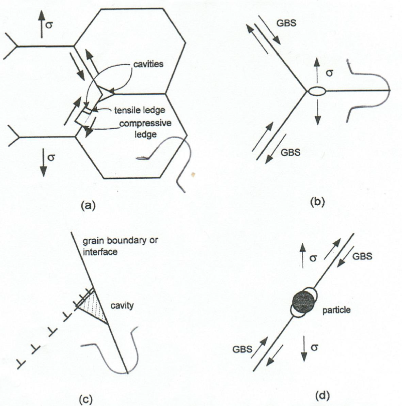 Figure 4: GBS related damage mechanisms (a) wedge cracking at grain boundary triple points, (b) cavity formation near a triple point, (c) dislocation pile up and grain boundary interaction and (d) cavity formation at a grain boundary precipitate.