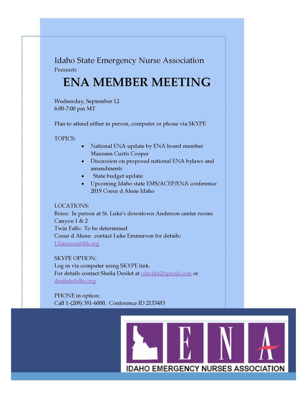MEETING for all IDAHO ENA members