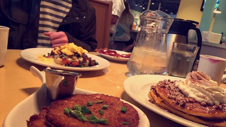 Potato latkes and my favorite pumpkin pancakes.