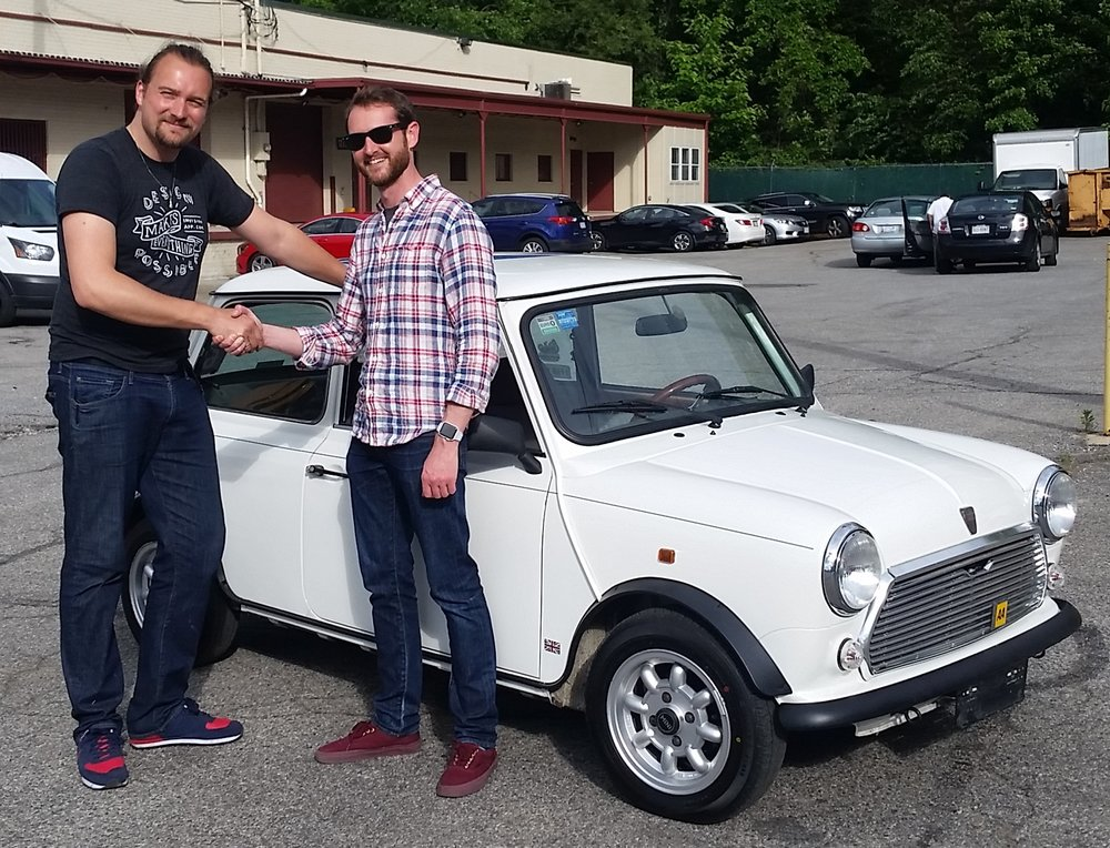 I got Justin (with the sunglasses)an unmolested left hand drive  1991 Mini Mayfair  and he drove it 3,400 miles back to California.