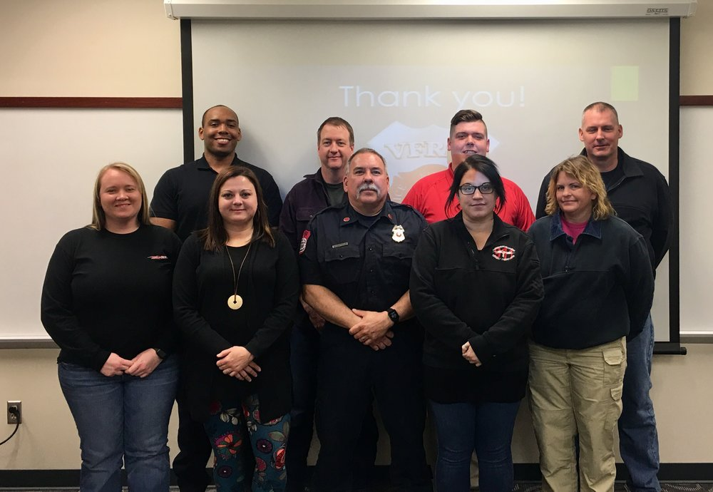Members of Harrisonburg Fire Department, Harrisonburg Police Department, Rockingham County Fire Rescue, Harrisonburg-Rockingham Emergency Communications Center, and Staunton Fire Department Peer Support teams!