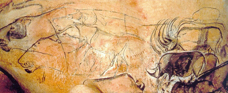 30,000 year old paintings of lions and rhinos at Chauvet-Pont-d'Arc Cave, France