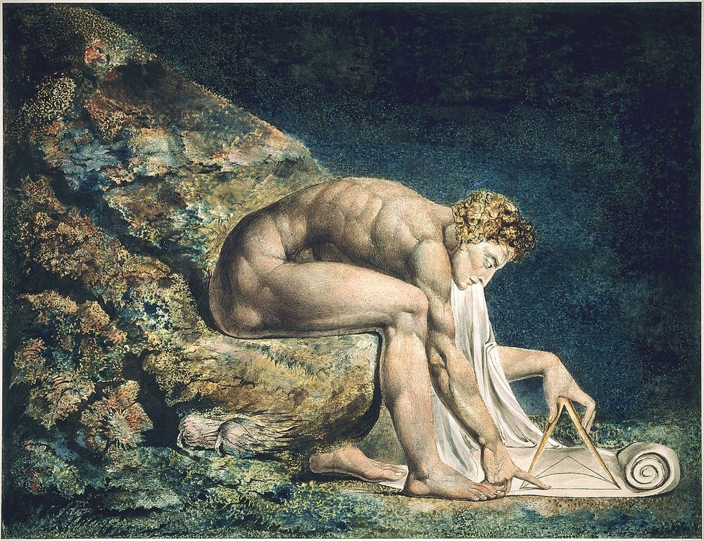 William Blake (1795) Newton. Monoprint with ink and watercolor. Tate Gallery, London.