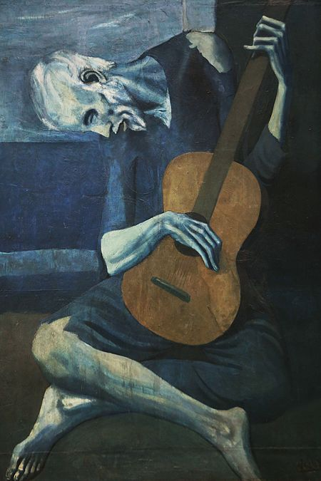 Picasso (1903-4) The Old Guitarist. Oil on panel. Art Institute of Chicago