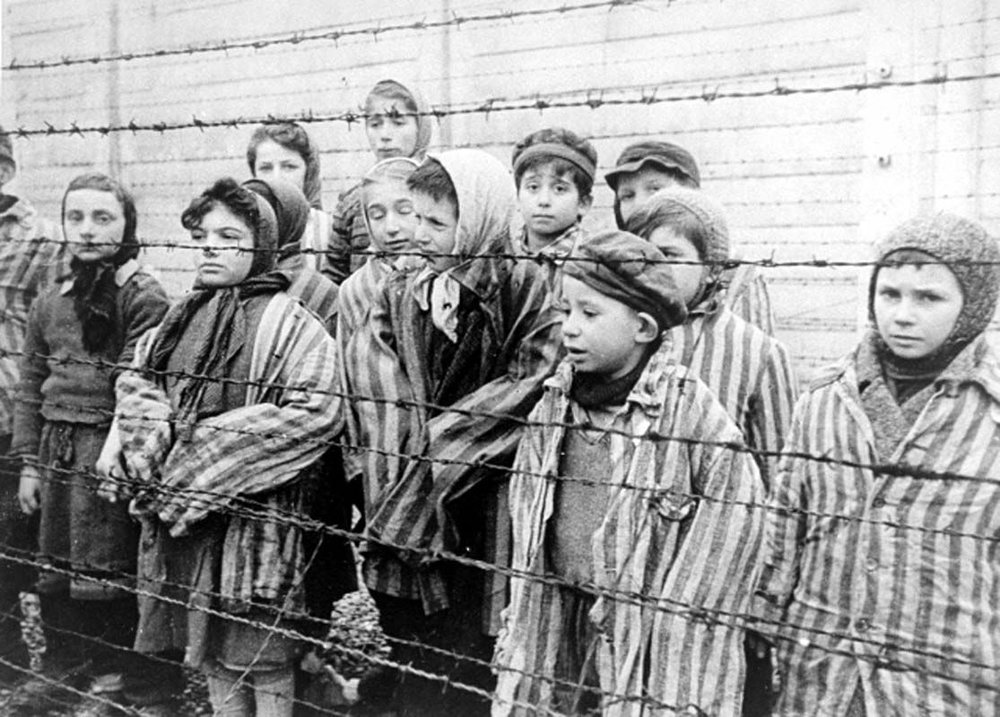 Jewish twins kept alive to be used in Mengele's medical experiments. These children were liberated from Auschwitz by the Red Army in January 1945.  USHMM/Belarusian State Archive of Documentary Film and Photography