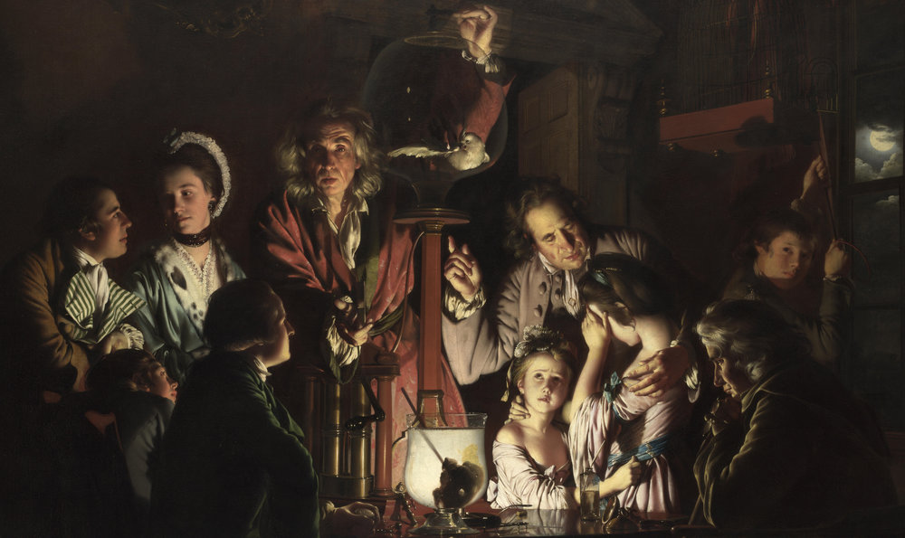 Joseph Wright of Derby (1768) An Experiment on a Bird in the Air Pump.  Oil on canvas. National Gallery, London