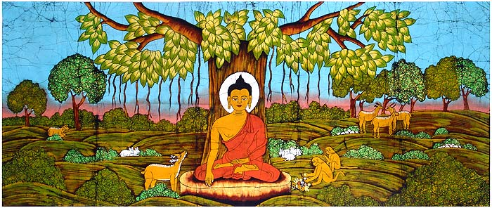 The Buddha meditating under the sacred Bodhi tree. Ficus religiosa is a large fig with iconic heart shaped leaves.