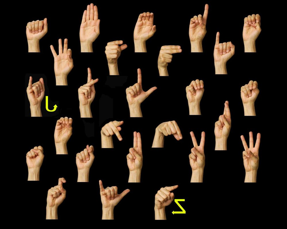 American Sign Language  (ASL) Manual Alphabet (fingerspelling)