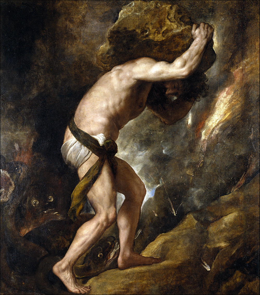 "Titian (1548-49)   Sisyphus.  Oil on canvas. Prado, Madrid    ""The Struggle itself toward the heights is enough to fill a man's heart. One must imagine Sisyphus happy.""    Camus, Albert. (1991)  The Myth of Sisyphus and Other Essays.  Translation: Justin O'Brien. Vintage Books, New York. Originally published as  Le Mythe de Sisyphe  (1942) Librairie Gallimard, Paris."