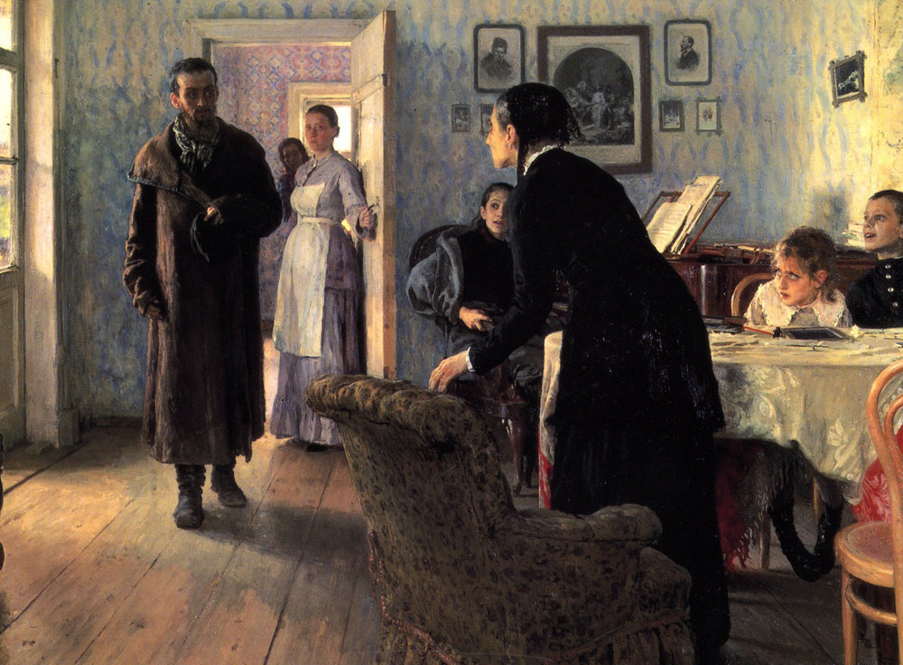 Repin, Il'ia Efimovich (1884-88) They Did Not Expect Him. Oil on canvas. Tretiakov Gallery, Moscow.