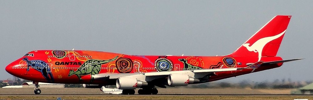 Wunala Dreaming.  This charismatic Aboriginal art design first appeared on a Qantas (Australian national airline) jet in 1994.   Photo: YSSYguy.