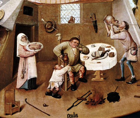 Hieronymus Bosch (1485)    The Seven Deadly Sins and the Four Last Things (Detail: Gluttony)   Oil on wood table . Museo del Prado, Madrid