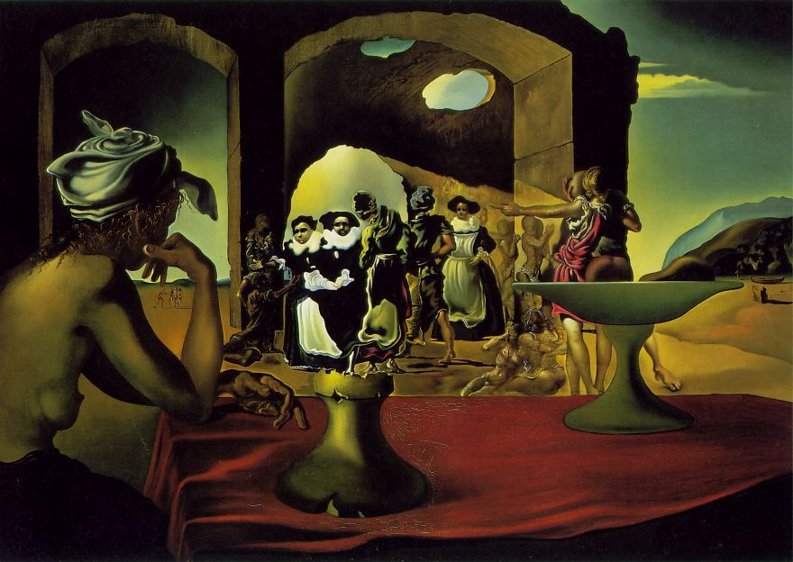 Salvador Dalí (1940) Slave Market with the Disappearing Bust of Voltaire. Oil on canvas. The Dali Museum, Tampa, FL