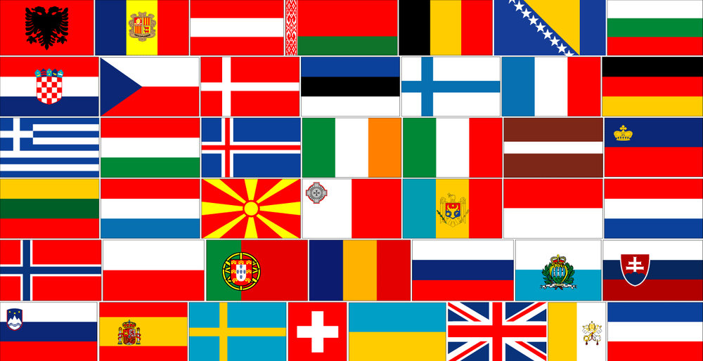 European flags.  Image:  GEOATLAS.com