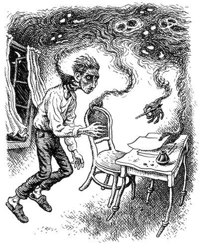 Kafka overcoming writer's block by Robert Crumb
