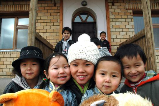 Five Mongolian children