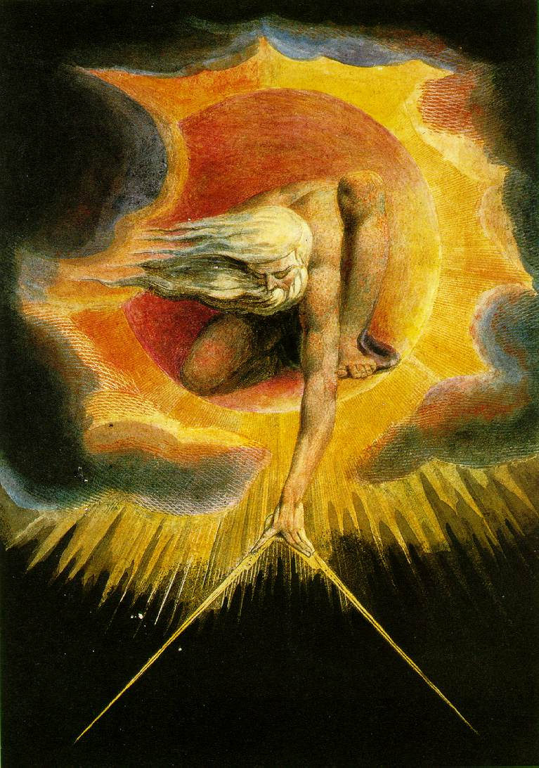 William Blake (1794)   The Ancient of Days.  Hand colored engraving. The frontispiece for  Europe a Prophecy.  British Museum.