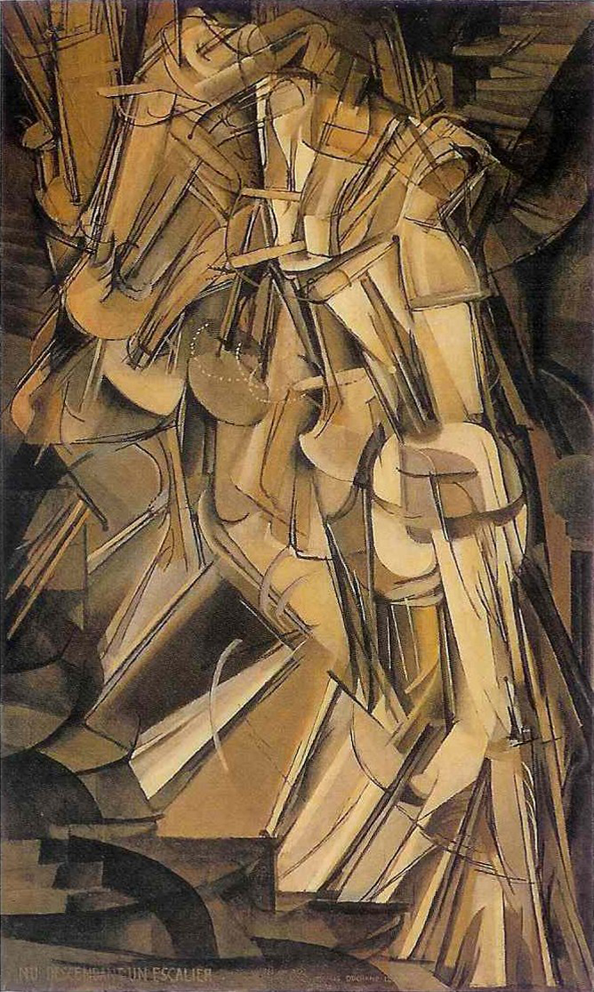 Marcel Duchamp (1912) Nude Descending a Staircase, No. 2. Oil on canvas. Philadelphia Museum of Art.