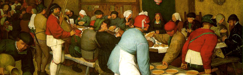 Detail from Pieter Bruegel's  Peasant Wedding  (c. 1568) Oil on wood, Kunsthistorisches Museum, Vienna.