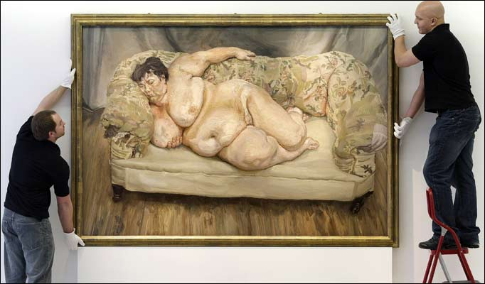 Lucian Freud (1995)   Benefits Supervisor Sleeping.  Oil on canvas.