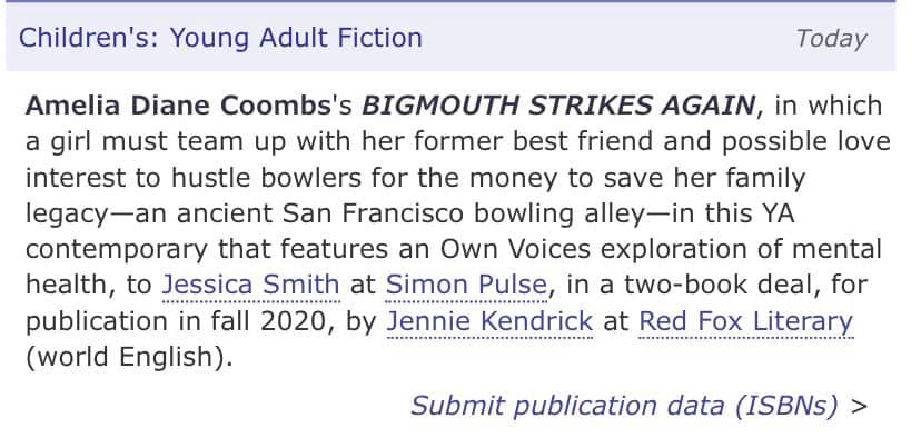 My Publishers Marketplace deal announcement!