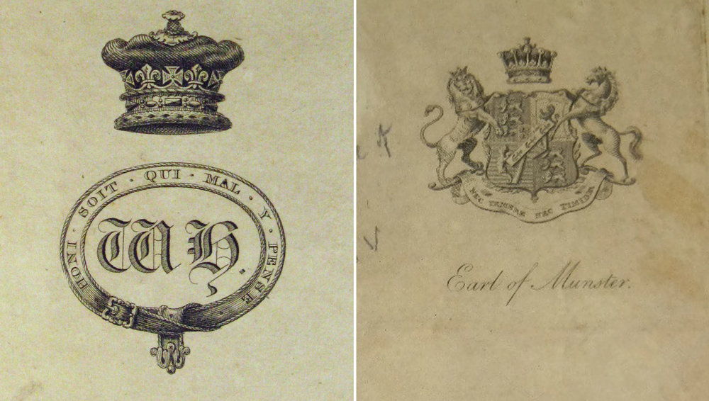 Bookplates from William IV and George Augustus Frederick FitzClarence – Earl of Munster
