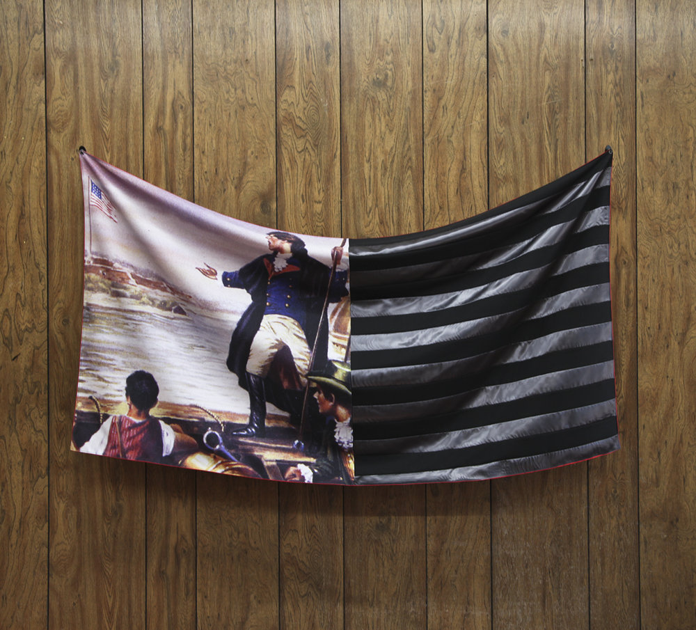 Bean Gilsdorf, Flag for Regarding Flags, 2011; polyester, wool suiting, satin; 35.5 x 57.5 in.