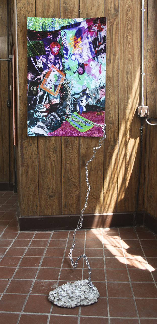 "Sarah Long  ""when I die throw me in the trash"" 2018 Photographic print, bristol board, mylar,  chain, steel wire and rod, concrete print: 45 x 30 inches"