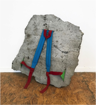 Mabel Moore,  40 Portable Pounds 0 Liters , 2018 kid's backpack straps in broken concrete  22 x 23 x 5 in.
