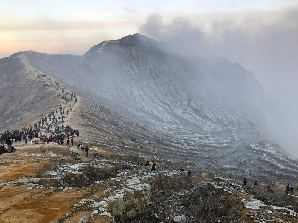 The edge of the Ijen Crater at dawn.
