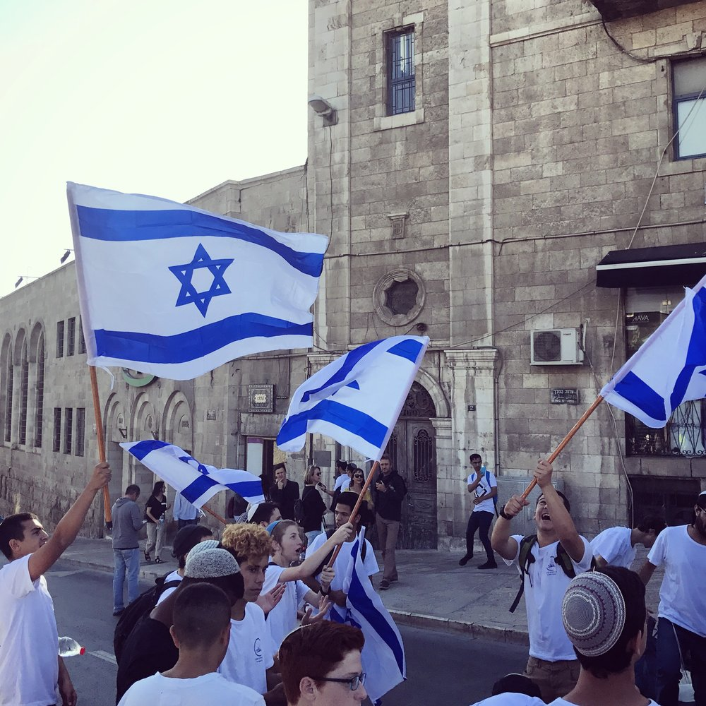 Israeli youth celebrating on Jerusalem Day