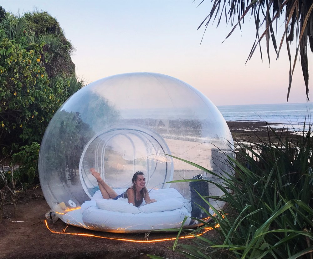Relaxing in our private beach bubble