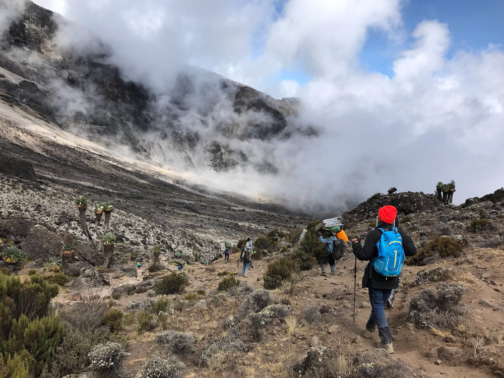 Hikers heading down to Barranco camp