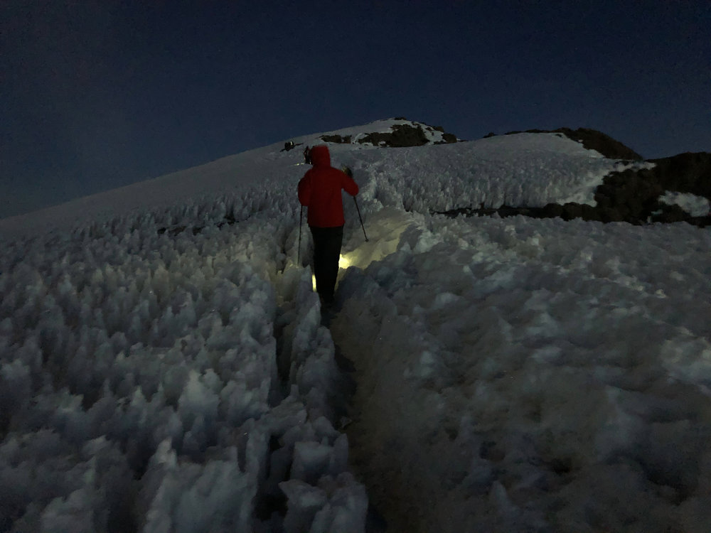 Joel snapped this photo of me as we neared the summit. It was freezing cold, I think his fingers were numb when he took this.