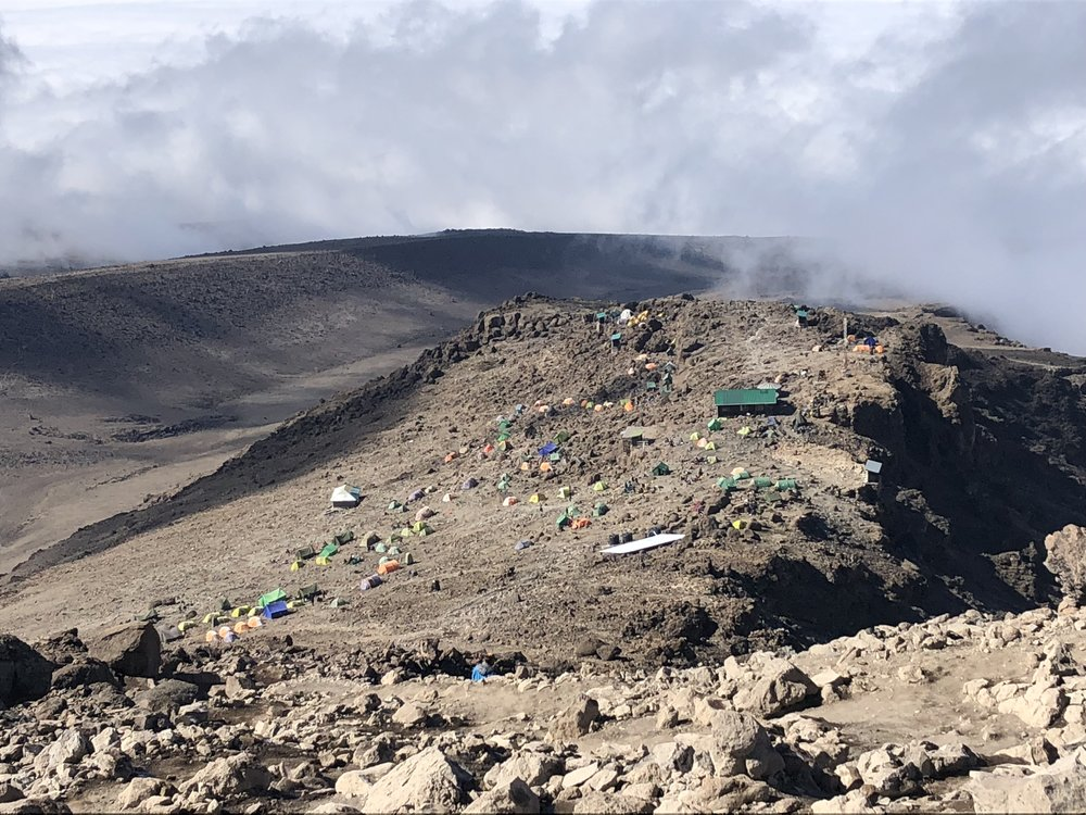 A view of Barafu Camp as we hiked down from the summit.