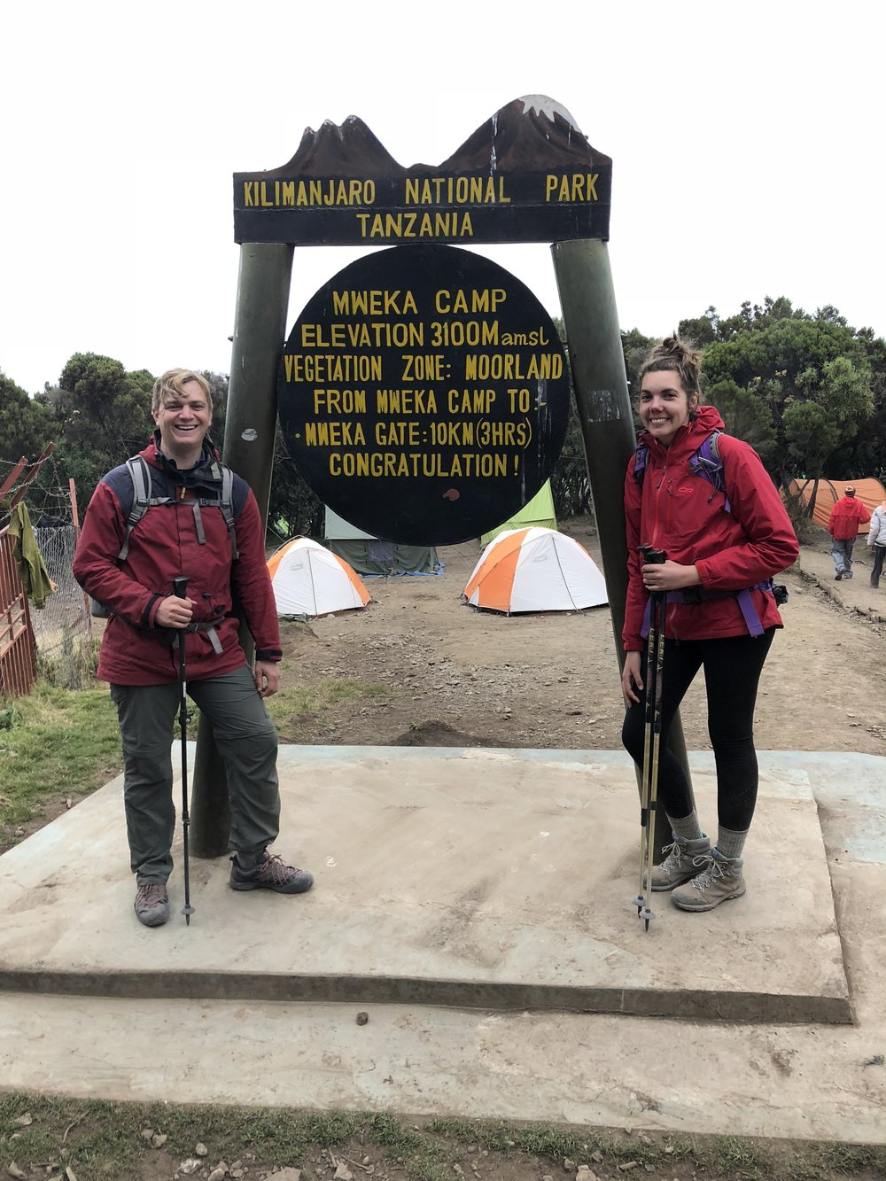 Hours after we reached the summit, Joel and I arrived here at Mweke camp (10,204 ft / 3,110), our last camp on the trail. The air was lush with oxygen.