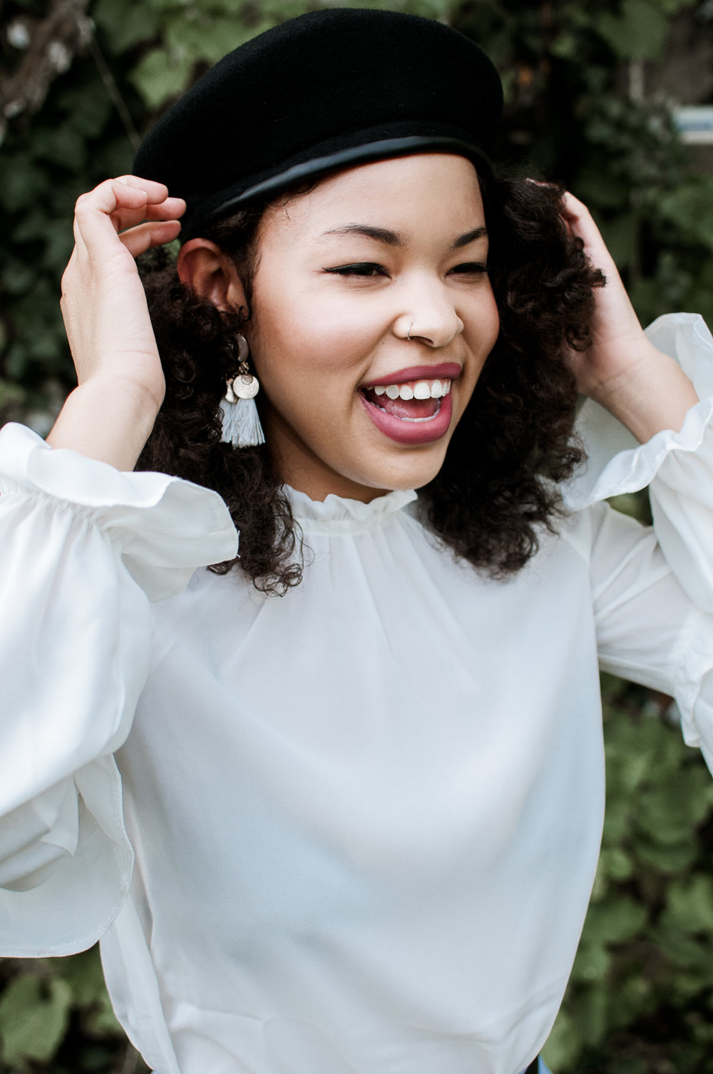 Beret: Asos/ Earrings: H&M