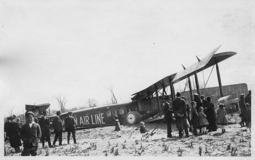 Lawson's second airliner (aka the Lawson Midnight Liner) crashed in a field near Milwaukee, Wisconsin, May 9th, 1921.