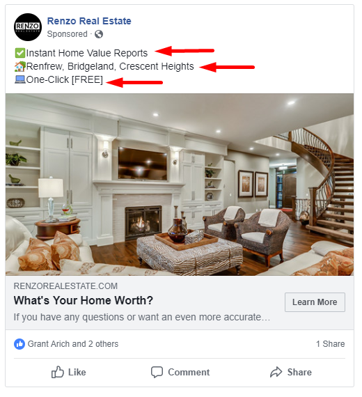 Seller Lead Ad Facebook Example