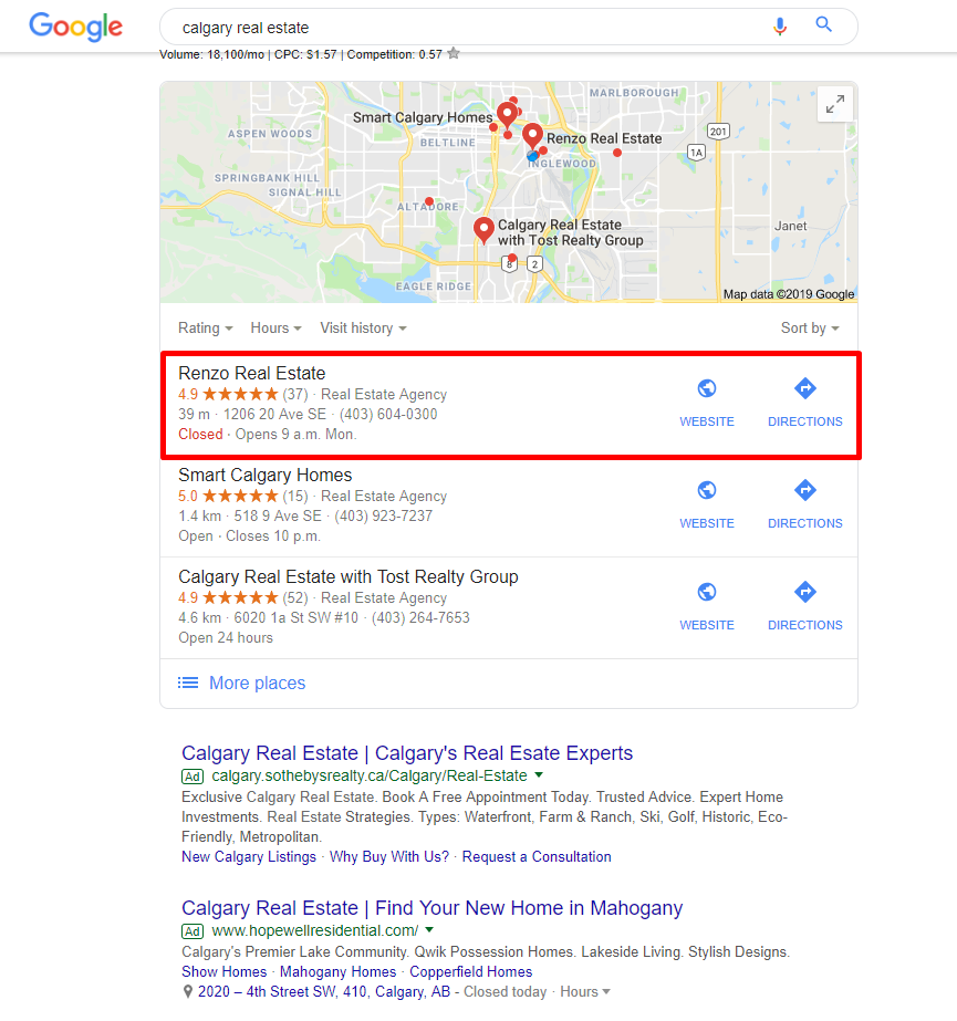 Local Pack Real Estate Agent SEO