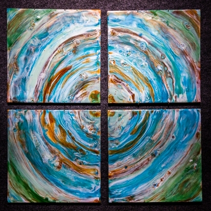 Ripples, collection of four encaustic on tiles